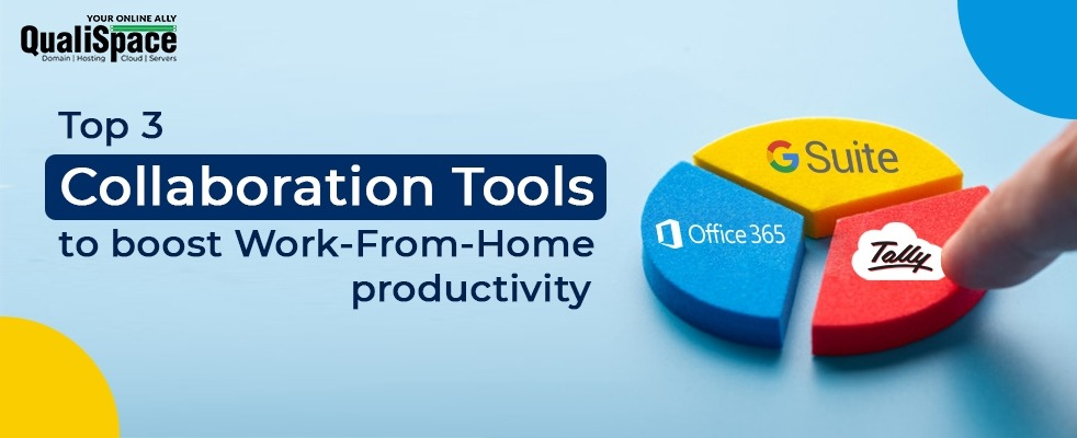 Top 3 collaboration tools to improve Work-From-Home productivity with QualiSpace Blog Header Image